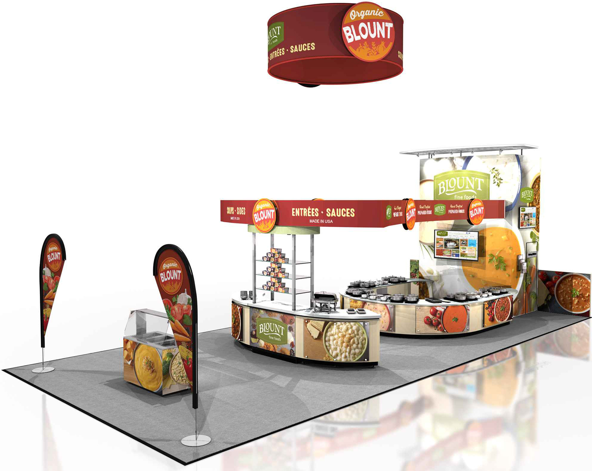 This is the 2016 Blount Fine Foods tradeshow booth, which is skinned to showcase our new Blount Organic retail brand. Visitors to this year's ExpoEast should come see us at Booth #426