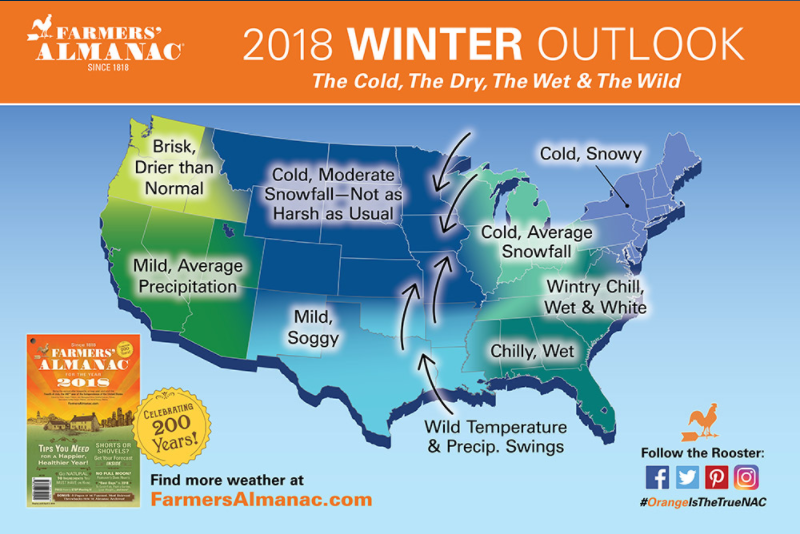 Map of The Farmers' Almanac 2018 Winter Predictions
